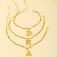 18k Gold Plated 4mm Figaro Chain Initial Anklet for Women Fashion Ankle Bracelet with Letter Alphabet Foot Jewelry with Extension