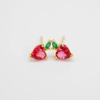 Fruit Stud Earrings for Women Teen Girls Yellow Gold-plated Cherry Apple Grape Strawberry Piercing Earrings Set