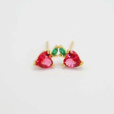 Fruit Stud Earrings for Women Teen Girls Yellow Gold-plated Cherry Apple Grape Strawberry Piercing Earrings Set