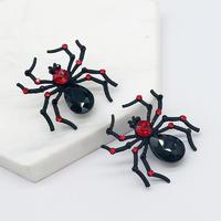 Spider Earrings for Women Witch Jewelry Halloween Stud Earrings Black Spider Red Rhinestone Earrings