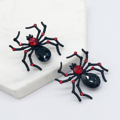 Spider Earrings for Women Witch Jewelry Halloween Stud Earrings Black Spider Red Rhinestone Earrings
