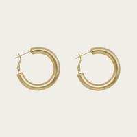 14K Gold Colored Lightweight Chunky Open Hoops | Gold Hoop Earrings for Women