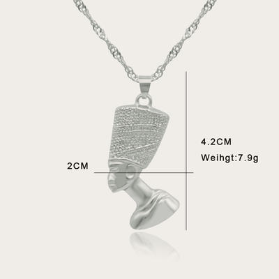 18K Gold/Silver Plated Egyptian Queen Nefertiti Pendant Necklace for Women Men with Singapore Chain African Hiphop Jewellry