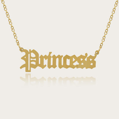 Gold Custom Name Necklace Personalized - 18K Gold Plated Personalized Name Necklaces for Women Girls Kids Teens, Plate Monogram Necklace Name Necklace