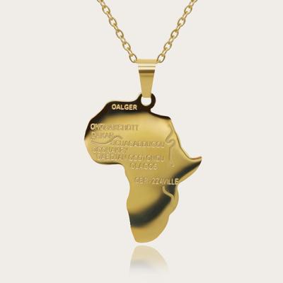 "Hip Hop Jewelry 22"" Long Chain Platinum/Rose Gold/Black Gun/18K Gold Plated African Map Pendant Necklace,Men Women Gift"