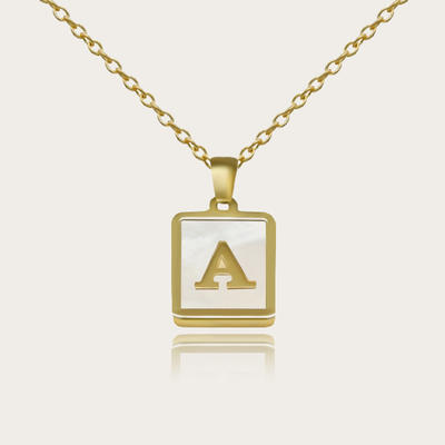 18K Gold Plated White Shell Initial Necklace for Women Men Square Letter A-Z Necklace Pendant Personalized Name Alphabets Necklace Jewelry Gifts