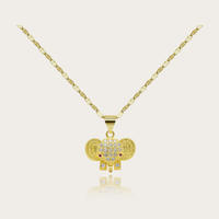 18K Gold Plated Filigree Cutout Elephant Drop Earrings and Pendant Necklace Jewelry Set