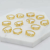 Zodiac Sign Rings for Women, 12 Constellation Rings Adjustable Horoscope Astrology Rings Birthday Gift for Women Girls